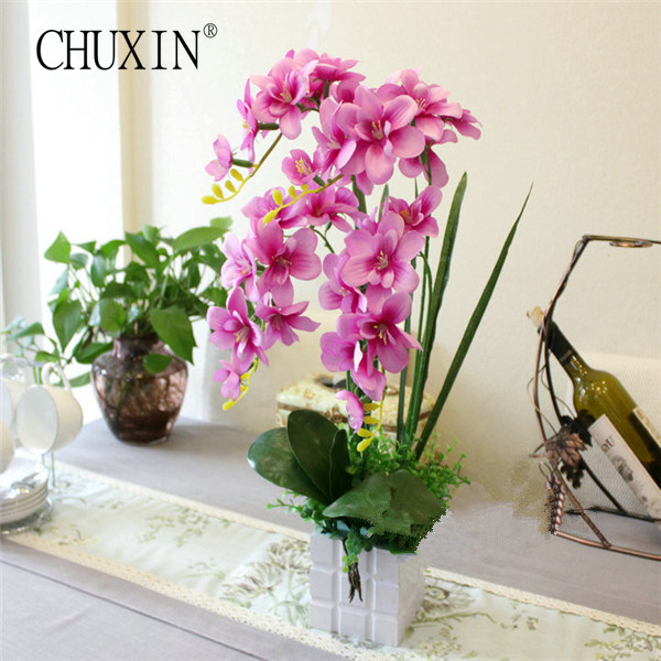 New 1 Set Butterfly Orchid Flowervase Artificial Flower Plant