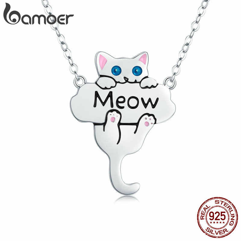 BAMOER 100% Genuine 925 Sterling Silver Animal Bonito Do Gato Do Bichano SCN210 Dangle Pendant Colares para As Mulheres Presente Jóias Da Moda