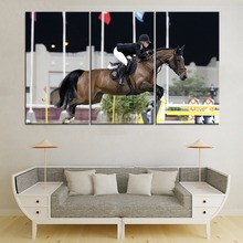 Sport Equestrian Horse Rider Painting 3 Piece Modular Style Picture Modern Canvas Print Type Home Decorative Wall Artwork Poster