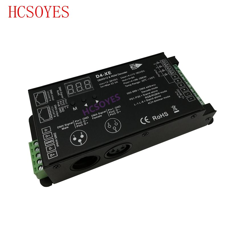 D4-XE 4 channel PWM constant voltage DMX decoder with digital display XLR3 and RJ45 port DC12-36V input;8A*4CH