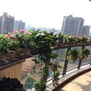 Image 4 - Balcony hanging flower stand iron frame plant stand outdoor decoration display metal frame