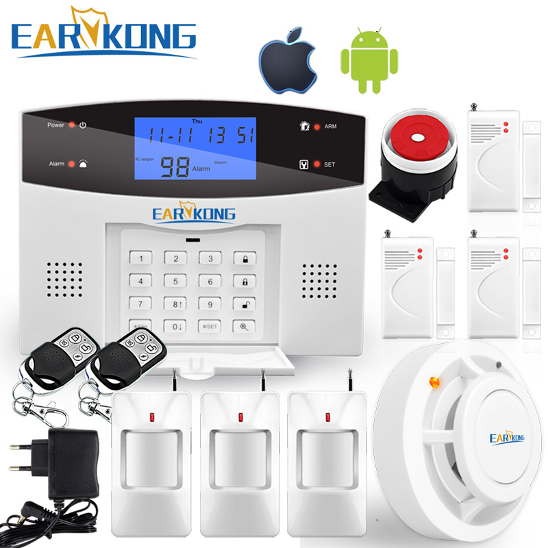 433MHz Wireless Home Burglar GSM Alarm System Support Telephone Line PSTN Support Wireless Wired Sensor Alarm Door Motion Sensor
