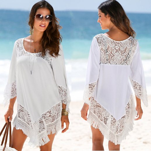 4bc344004bbf6 Summer Bathing Suit for Women White Tassel Lace Crochet Beach Dress Tunic Cover  Up Beach Sarong Saida De Praia Swimsuit Swimwear-in Cover-Ups from Sports  ...