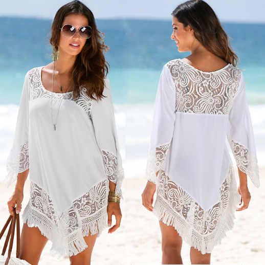 67563e471c Detail Feedback Questions about Summer Bathing Suit for Women White Tassel  Lace Crochet Beach Dress Tunic Cover Up Beach Sarong Saida De Praia Swimsuit  ...