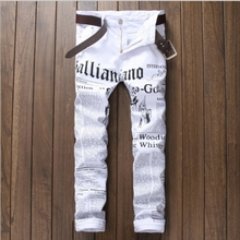 2017 Brand Men Straight Slim Fit Biker Jeans Pant Denim Trousers Jeans Letter Printing Men Biker Denim skinny Jeans White 05820