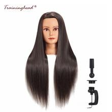 """Pelatihan 26-28 """"Mannequin Kepala Blonde Sintetis Rambut Panjang Hairstyle Hairdressers Pelatihan Cebol Kepala Perempuan Profesional"""