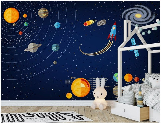 WDBH Custom Mural 3d Photo Wallpaper Space Solar System Childrens Room Home Decor Wall Murals