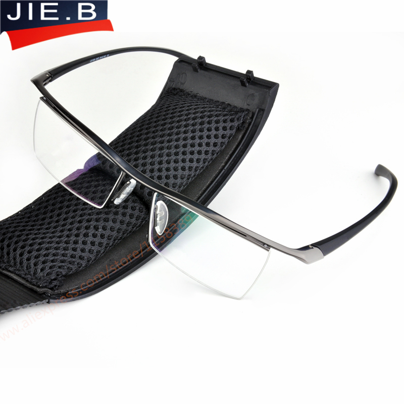 Metade aro óculos de titânio óculos de armação homens quadro óptico de leitura lente clara computador miopia quadro terno prescrição eyewear