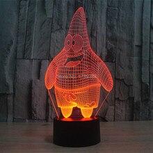 Free Shipping Glowing Colorful Cartoon SpongeBob Patrick Star 3D Acrylic LED Night Light Plastic USB Table Lamp