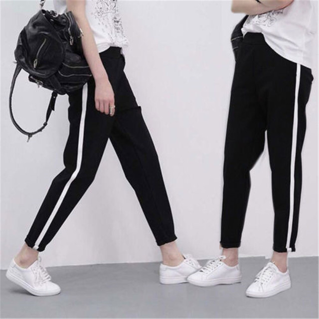 3321feb3ce1a7 US $3.9 39% OFF|2018 Summer New Style Fashion Women Stripes Track Pants  Black Casual Trouser Hip Hop Jogger Sweatpant-in Pants & Capris from  Women's ...