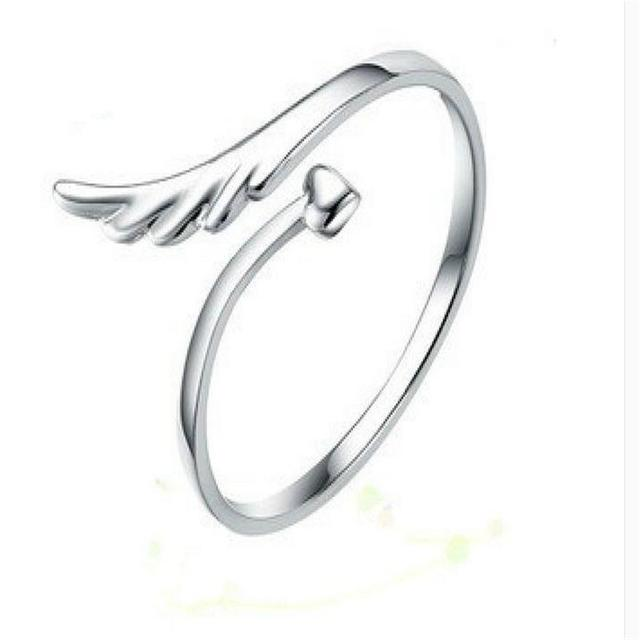 Fres Shipping 2017 New Silver Plated Joint Joint Angel Wings Opening Ring New Pa