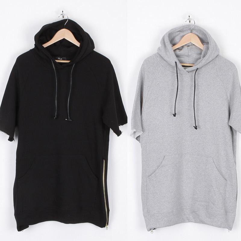New Raw Edge Sleeve Side Zip Hooded Sweatshirt Hoodie Pullover ...