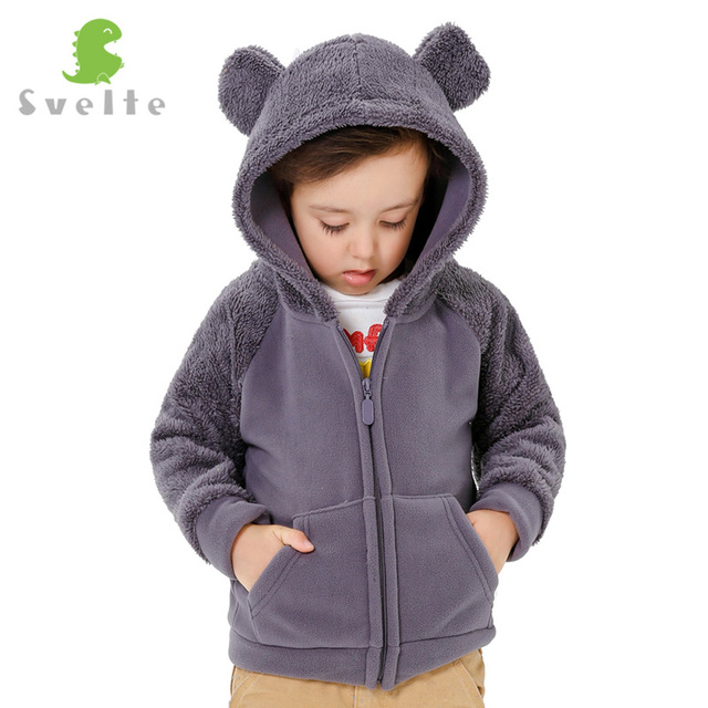Svelte Brand Fall Winter for Children Boys' Fur Soft Fleece Hoody Hooded Jacket Outerwear Coat Clothing with Cartoon Bear Ears