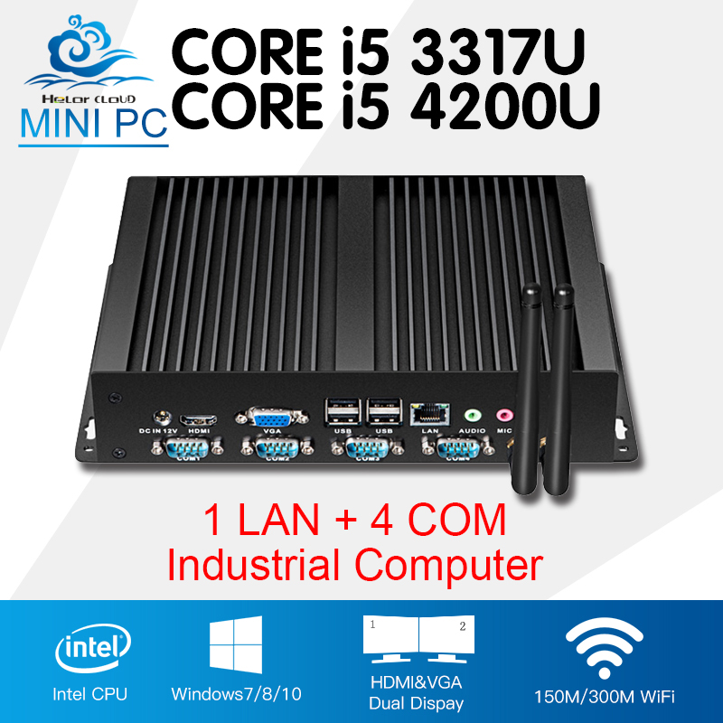 Mini PC Industrial Computer Core i5 4200U i5 3317U One Lan 4 COM Fanless Nettop Windows 10 Linux 8 USB2.0 4-RS232 HDMI+VGA цена 2016