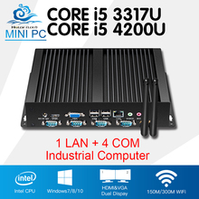 Мини-ПК промышленный компьютер Core i5 4200U i5 3317U одной LAN 4 com безвентиляторный неттоп Окна 10 Linux 8 USB2.0 4-RS232 HDMI + VGA