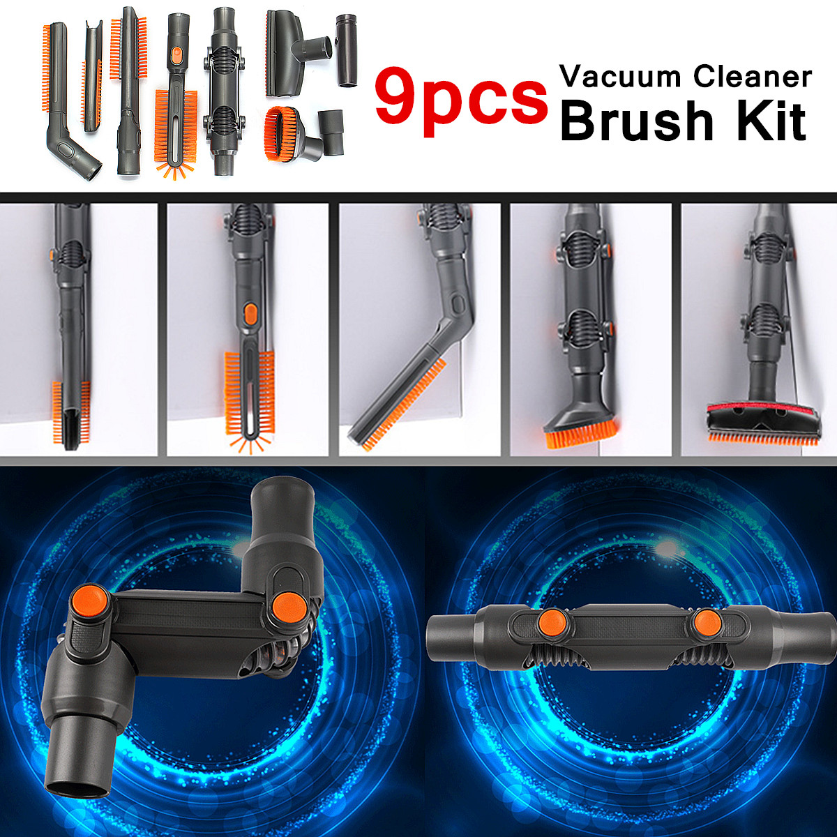 9PCS for Dyson Vacuum Cleaners Vacuum Cleaner Brush Tool Adapter Kit DC Series fit 32mm/35mm Diameter Fitting Deeper Clean 3 pieces lot vacuum cleaner brush hose tool kit for karcher vacuum cleaners 35mm crevice brush