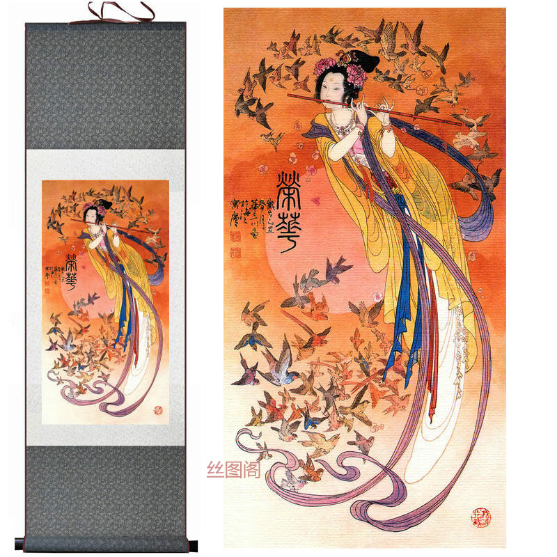 Silk watercolor ink Fairy flying apsaras Beauty rivers decorative art gift feng shui cloth silk scroll paintings wall picture