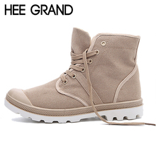 HEE GRAND Fall Men Boots Solid Fashion Ankle Boots Man Casual Lace Up Canvas Shoes Man High Quality Male Shoes Size 39-45 XWF294