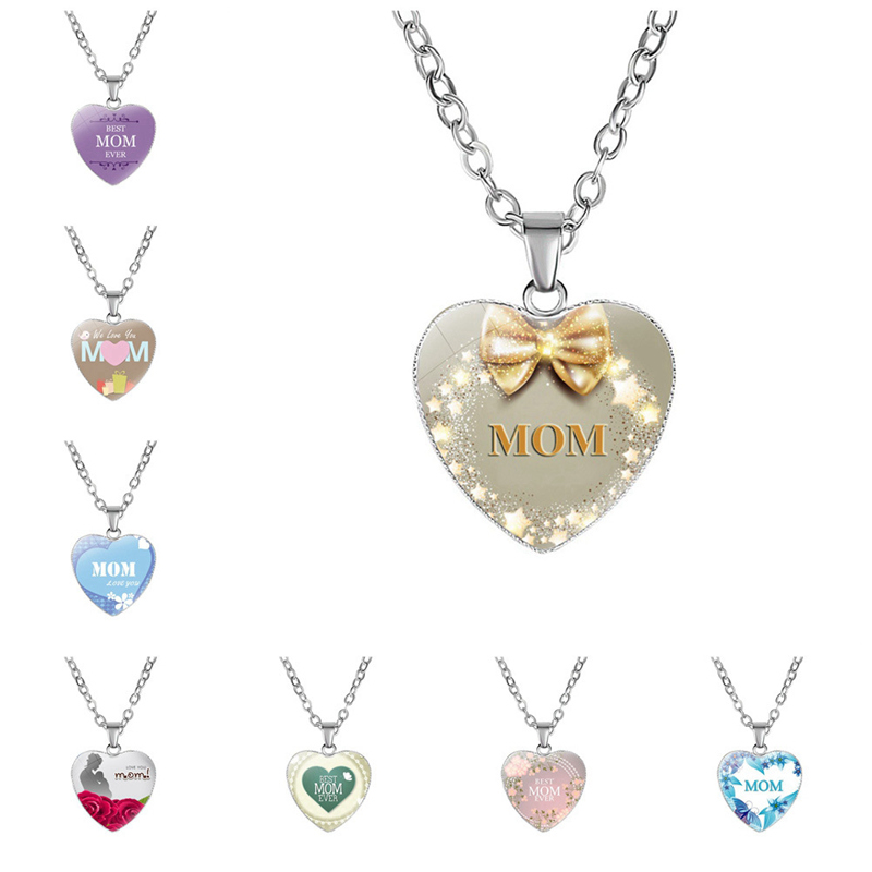 Fashion MOM Letter Print Heart Pattern Gift Pendent Necklace Jewelry