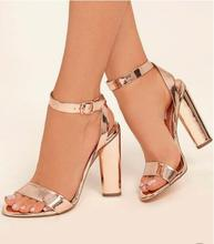 Sexy Rose Gold Patent Leather Ankle Strap Women Square Heels Sandals Cut-out Peep Toe Chunky Heel Summer Dress Shoes Plus Size