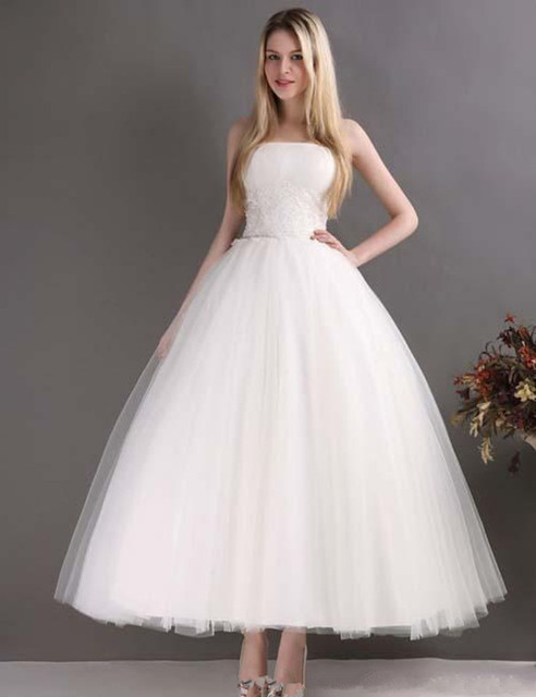 Ball Gown Ankle Length Wedding Dress Strapless Lace Tulle Simple ...