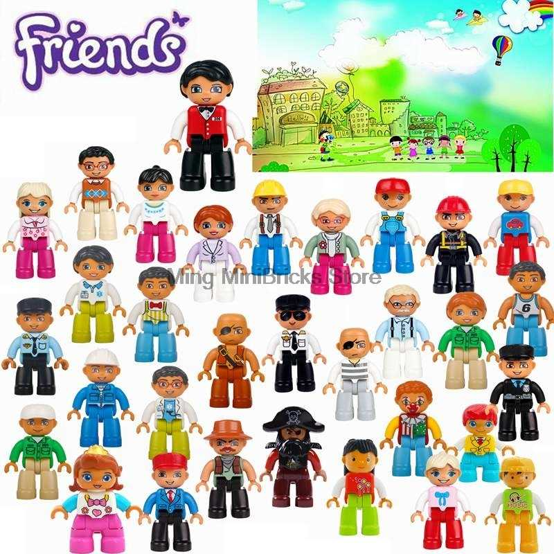 Duplo Community Legoing Cosplay Police Pirate Prisoner Girl Boy Cartoon Figures Kids Compatible Big Legoings Friends Blocks Toys
