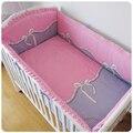 Promoção! 6 PCS rosa bebê jogo de cama de algodão conjunto de cama em torno de desfazer e lavar ( bumper + ficha + fronha )