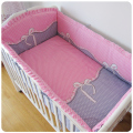 Promotion! 6PCS Pink Bow Baby Cotton Bedding Set piece Set Baby Bed around unpick and wash (bumper+sheet+pillow cover)