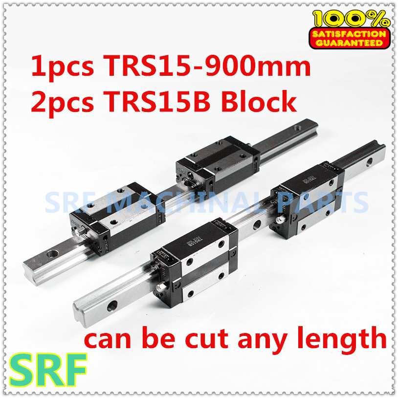 Low assembly 1pcs 15mm width Linear Giude Rail TRS15 L=900mm+2pcs TRS15B Square slide block Linear Motion Guide Way for CNC part цена