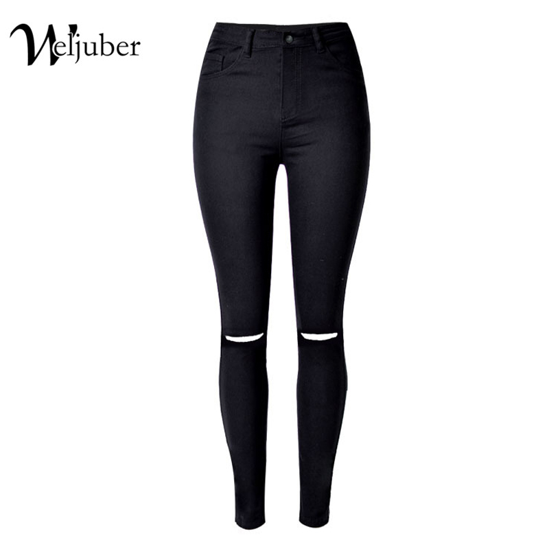 2017 Weljuber Hole Black Jeans Denim Ripped Slim Pencil Pants Women Cool Sexy Jeggings High Elastic Wash High Waist Skinny Jeans uanloe 2017 autumn white hole ripped jeans women jeggings cool denim high waist pants capris female skinny black casual jeans
