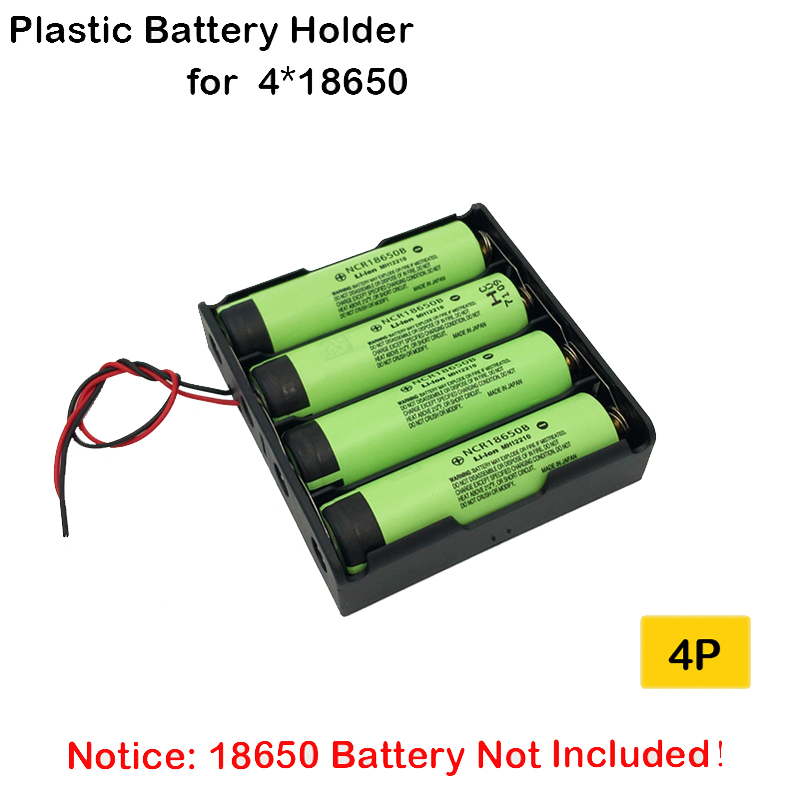 Plastic 4 Way 18650 Battery Holder Storage Box Case For 4X18650 With Wire Leads 3.7V 4P