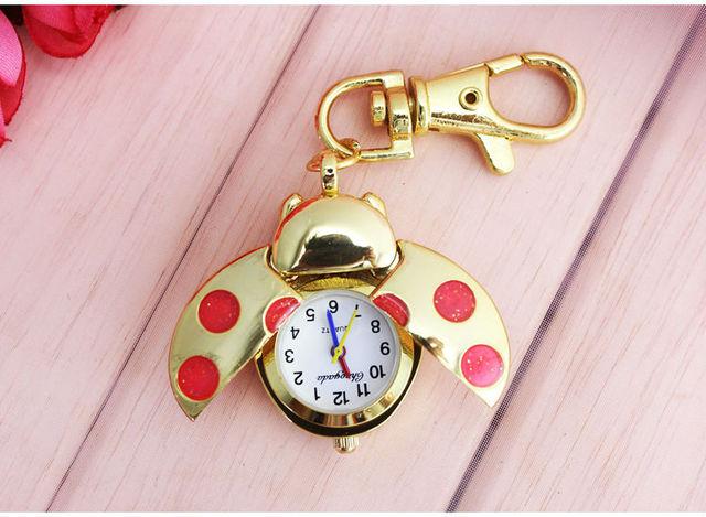 Gold Ladybug Beetle Necklace Pendant Pocket Quartz Watch keyChain Battery Includ