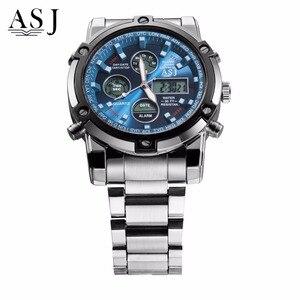 Image 2 - ASJ Horloge Mannen Sport Digitale Horloges Mannen 50m Waterdichte Klok Army Rvs Klok Mannelijke Outdoor Zwemmen Militaire Horloge relogio