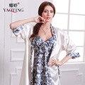 2017 Summer Women Chinese Style V-neck Imitation Silk Night Dress Silky Sleepwear Elegant Thin White Bathrobe Homewear Gown Set