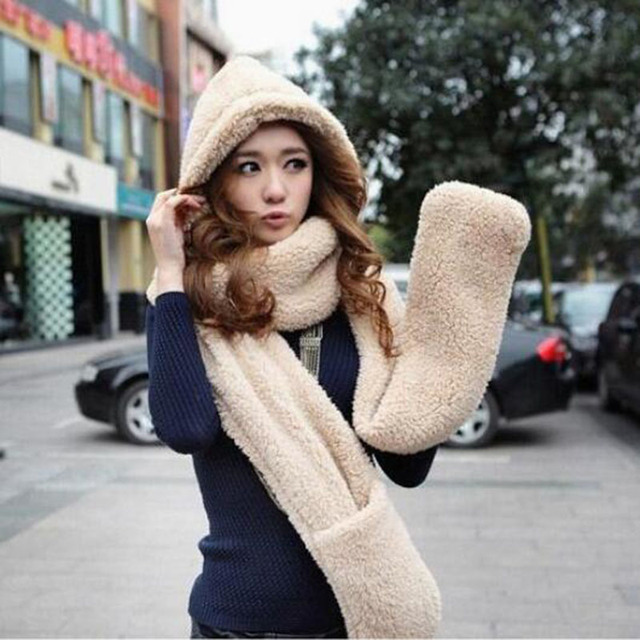 7be1a406826 2016 Autumn and winter freeshipping super warm plush sheep Wool cap with  scarf gloves hat Women