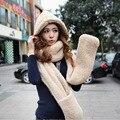 2016 Otoño y El invierno freeshipping súper cálida Lana de oveja de peluche tapa con guantes de la bufanda del sombrero de Las Mujeres de moda las mujeres bufanda caliente conjunto