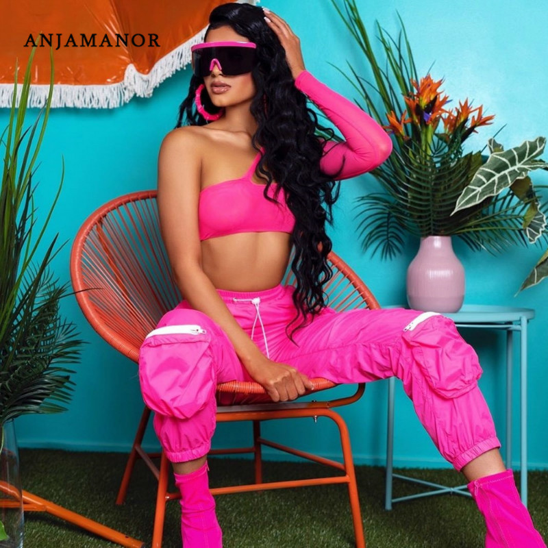 ANJAMANOR Two Piece Set Mesh One Shoulder Long Sleeve Crop Top Cargo Pants Streetwear Outfits Tracksuit Matching Sets D58-AE86