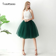 6 Layers 65cm Long Tulle Skirt Elegant Pleated Tutu Skirt Summer Skirts Womens 2018 Lolita Style faldas saia feminina Jupe(China)