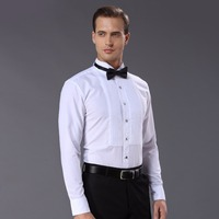 New Arrival Fashion Drape Adornment Cotton Men S Shirts Long Sleeve Pure Color Male Tuxedo Shirt