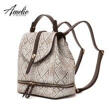 AMELIE GALANTI женский рюкзак стильный геометрический узор мягкая искусственная кожа ткань Алмазная решетка Softback Модный женский рюкзак