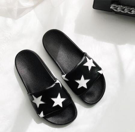 Confortable Plat Taille Étoiles As Photo Réel Grande Photos Pantoufles Haute L'été Noir En Blanc Cuir Pour Photo Femme Qualité as XiOkPZuT