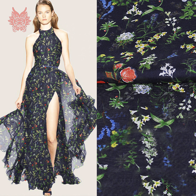 18fda56b38650 Marinha com estampa floral 100% silk chiffon tecido para vestido telas de  chiffon tecidos stoffen