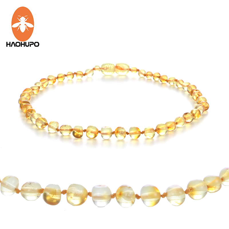 HAOHUPO 100% Amber Teething Վզնոց փայլեցված զարդեր Բալթյան սաթ սաթ բշտիկներ Նոր մանյակ մանկական աղջիկների համար տղաներ