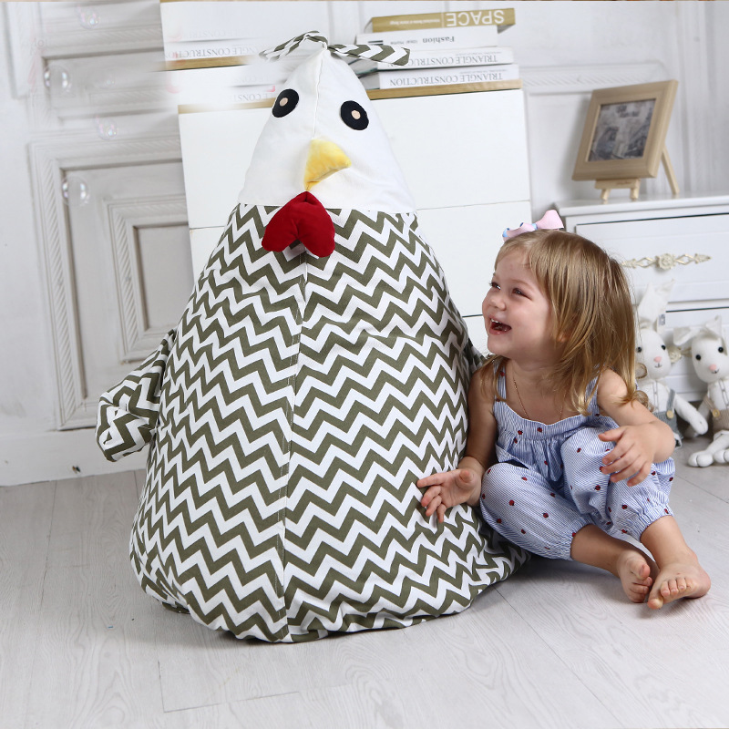 Creative Storage Stuffed Cartoon chicken Storage Bean Bag Chair Portable Kids Toy Storage Bag Soft Pouch Clothes Organizer Tool