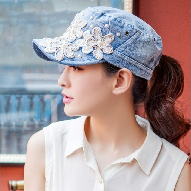 US $27 8 |Gift Woman Lovely Pearls Flower Embroidery Flat Top Hats Good  Quality Pure Cotton Sun Hat Lady Travelling Denim Baseball Cap-in Baseball