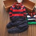 2016 autumn newness turn down collar infant boys clothes set stripe style newborn boys birrtyday gift heart boys costume cotton