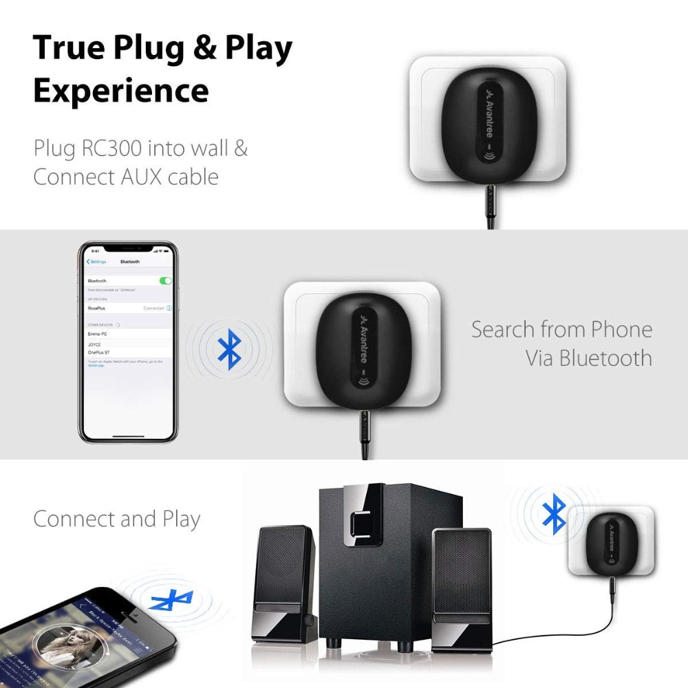 Avantree Roxa Plus CHARGE FREE aptX LOW LATENCY Wireless Bluetooth Receiver  for Home Stereo, AUX or RCA Audio Adapter, Charger