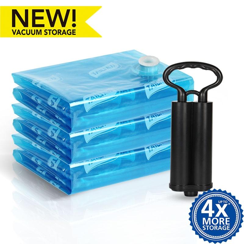 Støvsuger til tøj med pumpeopbevaringstaske Vacuumpakke Space Saver Sparer Opbevaringspose Tæppe Organizer Travel Opbevaringstaske