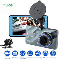 Car DVR Cam Dash Camera 4 inch Rearview Camera Dual Lens 170 Wide Angle G sensor Dashboard Auto Driving Recorder Automovil Coche