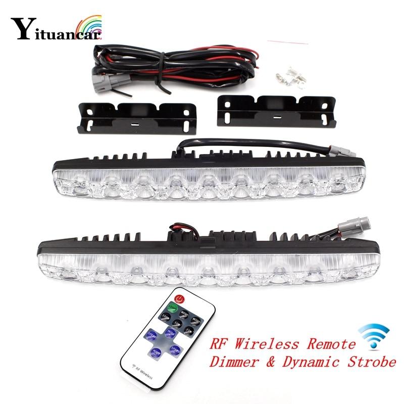 Yituancar 2X RF Wireless Remote LED Strobe Warning DRL Daytime Running Lights 8 Modes Dynamic Dimmer Car Styling Fog Work Lamp